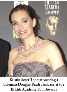 Kristin Scott Thomas wearing Coleman Douglas Pearl jewellery