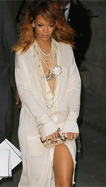 Rihanna wearing pearls
