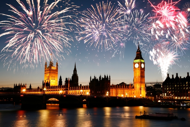 Fireworks over Palace of Westminster seen from South Bank