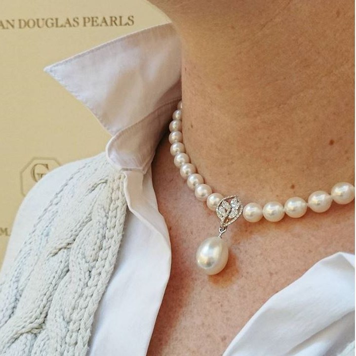 Akoya Pearl Necklace with Diamond Leaf Centerpiece