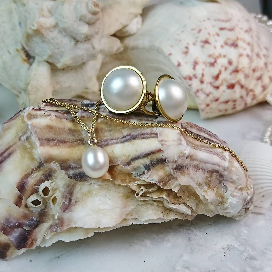 Freshwater Pearl Drop Necklace, Mabe Pearl Stud Earring
