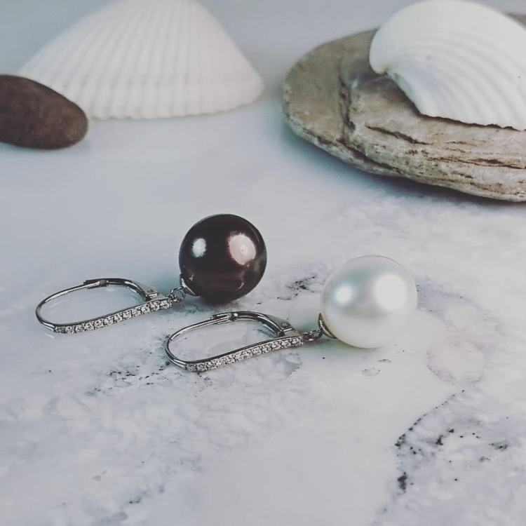 Tahitian and South Sea Pearl Drop with 12 Diamond French Fitting